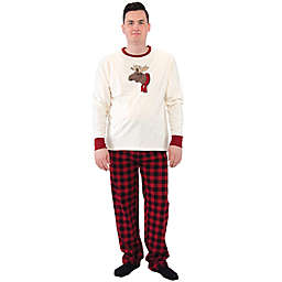 Touched by Nature® Men's 2-Piece Moose Organic Cotton Pajama Set in Red