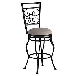 "American Woodcrafters Metal Upholstered Albany 26"" Bar Stool in Grey"