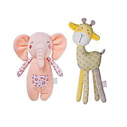 Saro Lifestyle Elephant and Giraffe Longlegs 2-Piece Plush Toy Set