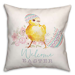 Welcome Easter Chick 18x18 Throw Pillow