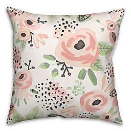 Designs Direct Blush Flowers Square Throw Pillow in Pink