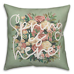"""Designs Direct """"Spring is Here"""" Square Throw Pillow in Green"""