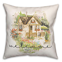 Welcome Watercolor Cottage 18x18 Throw Pillow