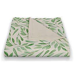 Designs Direct Leaf Pattern Throw Blanket in Green