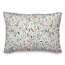 Pastel Floral Pattern 14x20 Throw Pillow