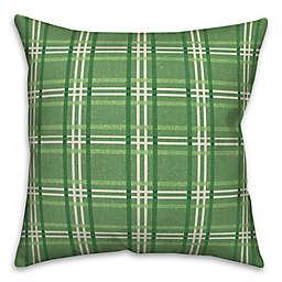 St. Patrick's Plaid 18x18 Throw Pillow
