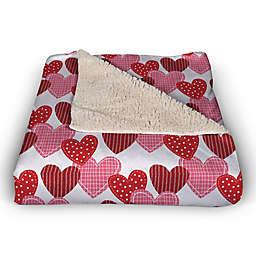 Patchwork Heart Pattern 50x60 Throw Blanket