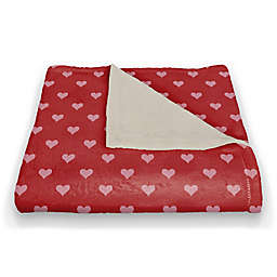 Designs Direct Hearts Throw Blanket in Pink/Red