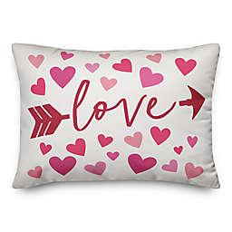 Love Hearts and Arrow 14x20 Throw Pillow