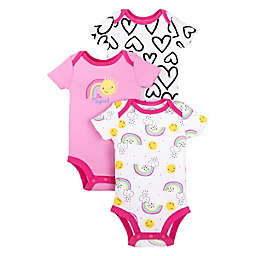 Lamaze® 3-Pack Heart and Rainbow Organic Cotton Short Sleeve Bodysuits in Pink