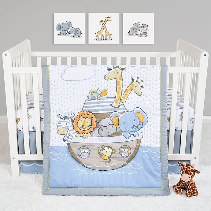 Alternate image 1 for Sammy & Lou Noah's Ark 4-Piece Crib Bedding Set in Blue/Grey