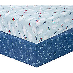 Sammy & Lou 2-Pack Airplanes Fitted Crib Sheets in Blue/Red