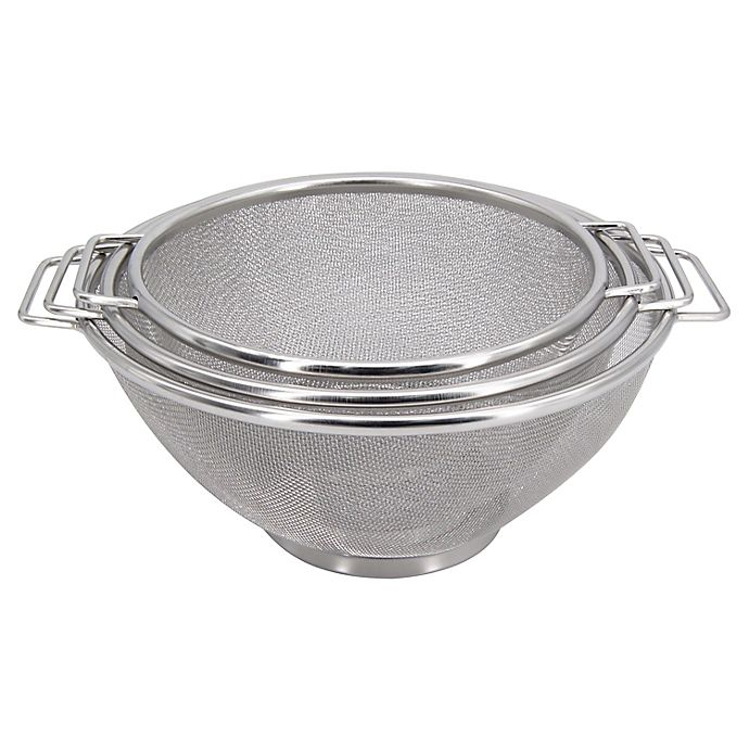 Alternate image 1 for Simply Essential™ 3-Piece Stainless Steel Mesh Colanders Set
