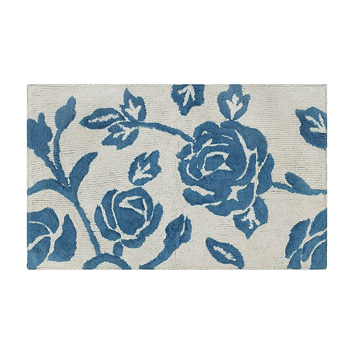 Alternate image 1 for Bee & Willow™ 34'' x 21'' Home Faded Floral Bath Rug in Blue/White