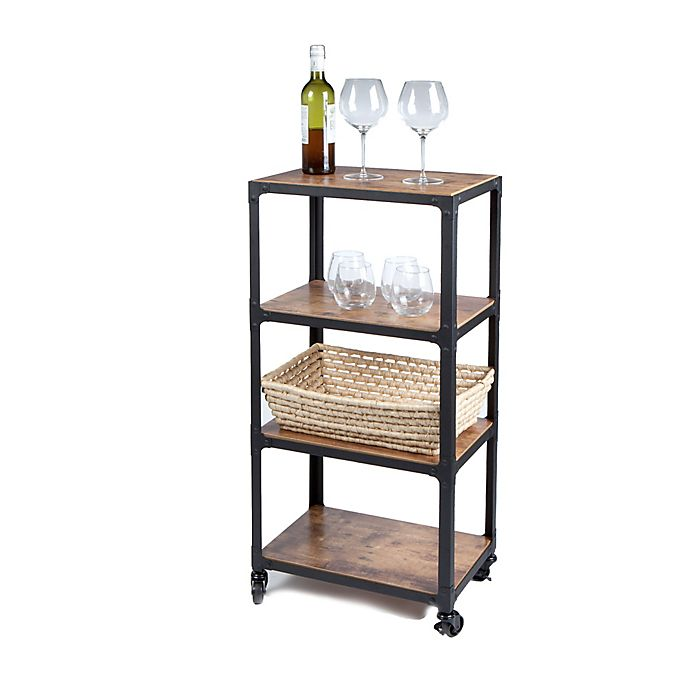 Alternate image 1 for Squared Away™ 4-Tier Wood and Metal Utility Cart in Black/Natural