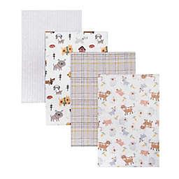 Trend Lab® 4-Pack Farm Friends Flannel Receiving Blankets in Grey/Brown