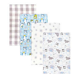 Trend Lab® 4-Pack Winter Pals Flannel Receiving Blankets in Grey/Blue
