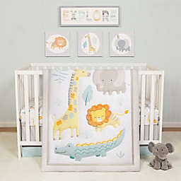 Sammy & Lou Jungle Pals 4-Piece Crib Bedding Set in Aqua/Yellow
