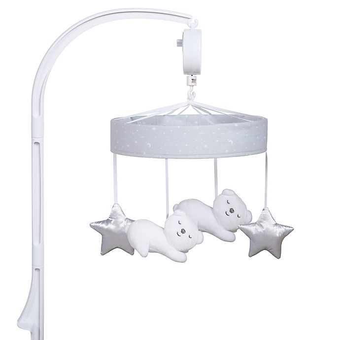 Alternate image 1 for Sammy & Lou Bearly Dreaming Musical Crib Mobile in Grey/White