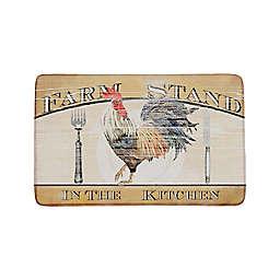 Farm Stand Rooster Anti-Fatigue Kitchen Mat in Walnut