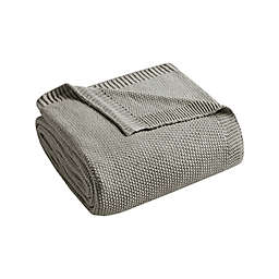 INK+IVY Bree Knit Twin Blanket in Charcoal