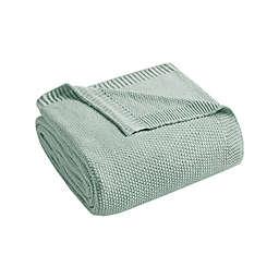 INK+IVY Bree Knit Full/Queen Blanket in Aqua