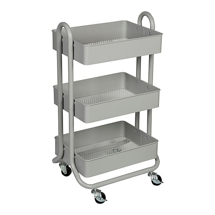Alternate image 1 for Squared Away™ 3-Tier Bath Storage Cart in Grey