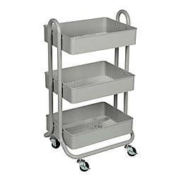 Squared Away™ 3-Tier Bath Storage Cart in Grey