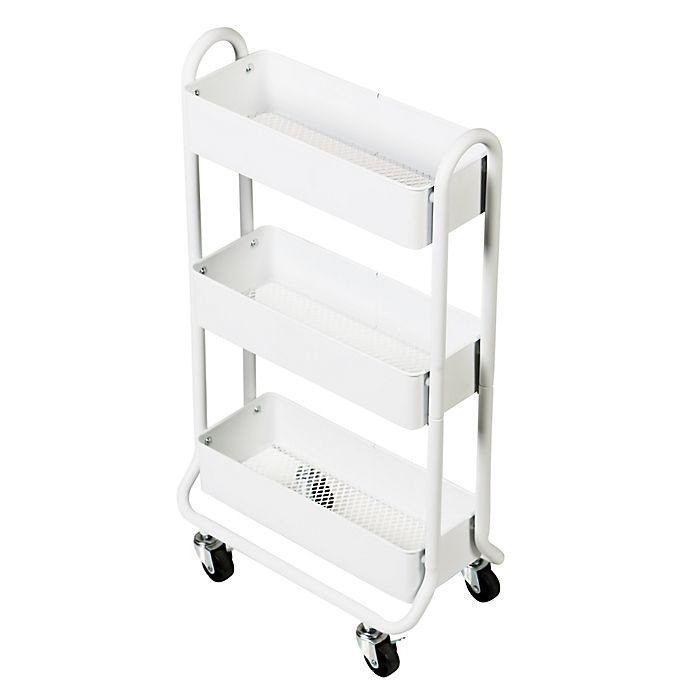 Alternate image 1 for Squared Away™ 3 Tier Narrow Bath Storage Cart in White