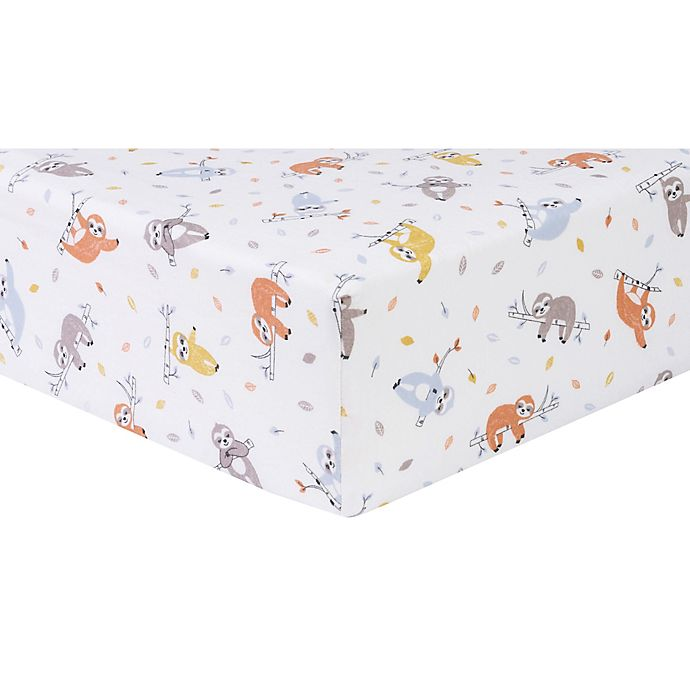 Alternate image 1 for Trend Lab® Slothing Around Flannel Fitted Crib Sheet in Red