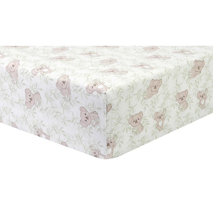 Alternate image 1 for Trend Lab® Koala Vines Flannel Fitted Crib Sheet in Red