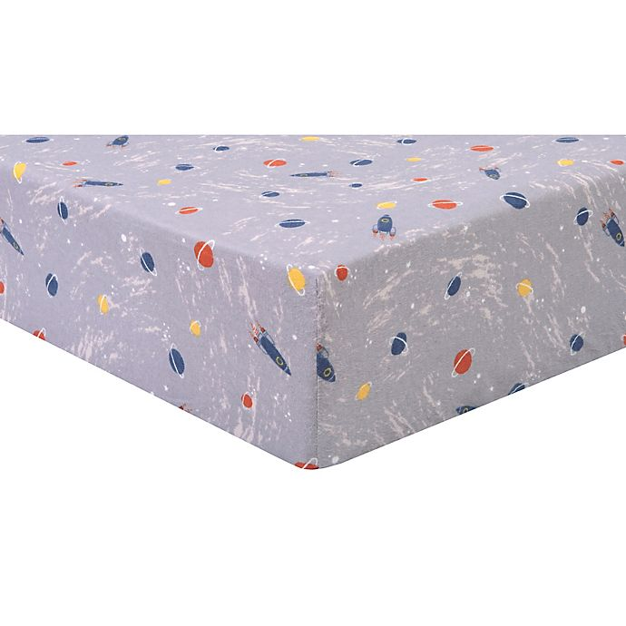 Alternate image 1 for Trend Lab® Outer Space Planets Deluxe Flannel Crib Sheet in Grey