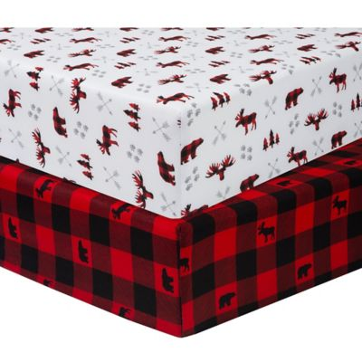 Sammy Lou 2 Pack Lumberjack Microfiber Fitted Crib Sheets In Red Black Bed Bath Beyond