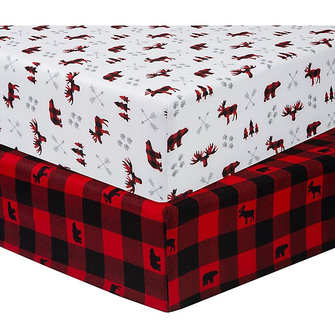 Alternate image 1 for Sammy & Lou 2-Pack Lumberjack Microfiber Fitted Crib Sheets in Red/Black