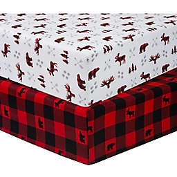 Sammy & Lou 2-Pack Lumberjack Microfiber Fitted Crib Sheets in Red/Black
