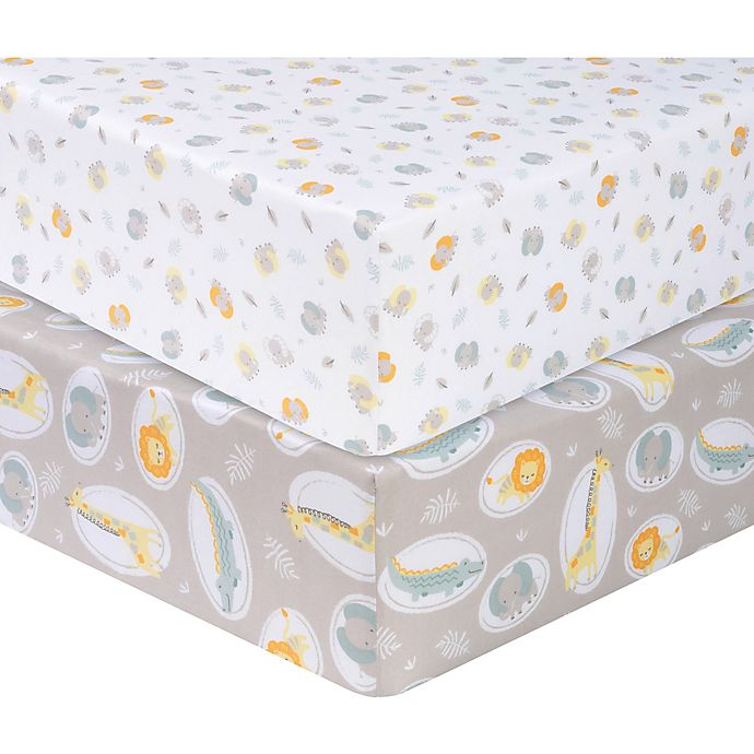 Alternate image 1 for Sammy & Lou Jungle Pals 2-Pack Microfiber Fitted Crib Sheets in Grey