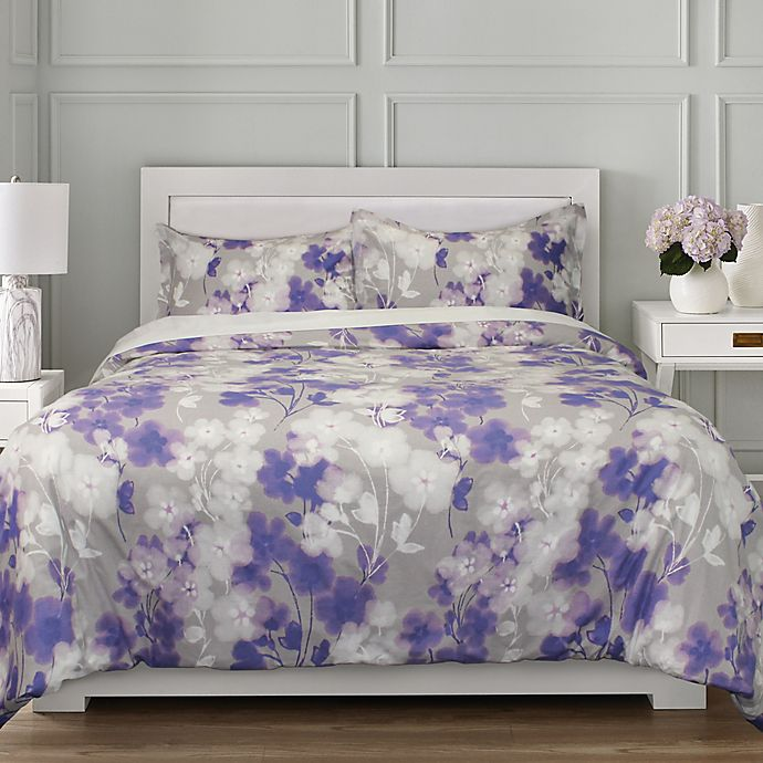 Alternate image 1 for Springs Home™ Flowers 3-Piece Duvet Cover Set in Grey
