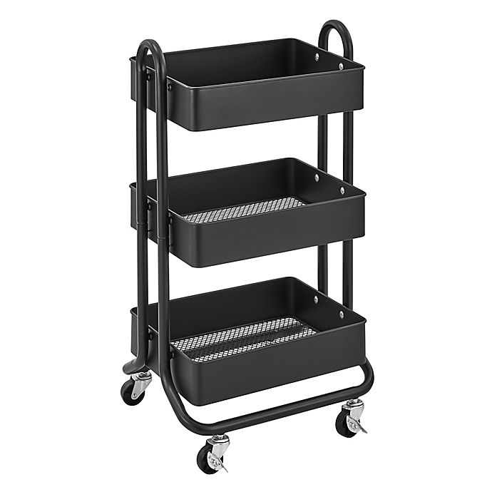 Alternate image 1 for Squared Away™ 3-Tier Bath Storage Cart in Black