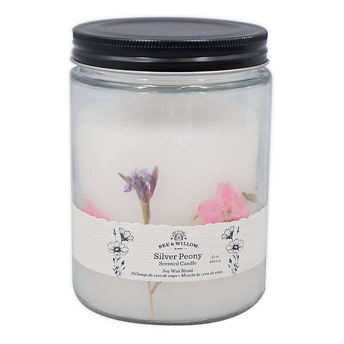 Alternate image 1 for Bee & Willow™ Silver Peony 15 oz. Spring Floral Glass Jar Candle