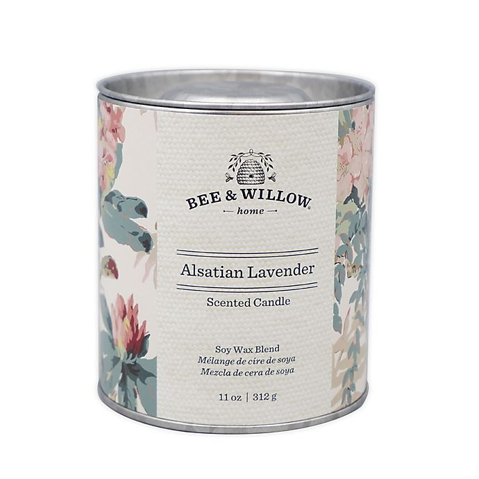 Alternate image 1 for Bee & Willow™ Home Alsatian Lavender 11 oz. Tin Candle with Floral Design