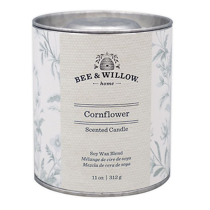 Alternate image 1 for Bee & Willow™ Cornflower 11 oz. Tin Candle with Floral Design