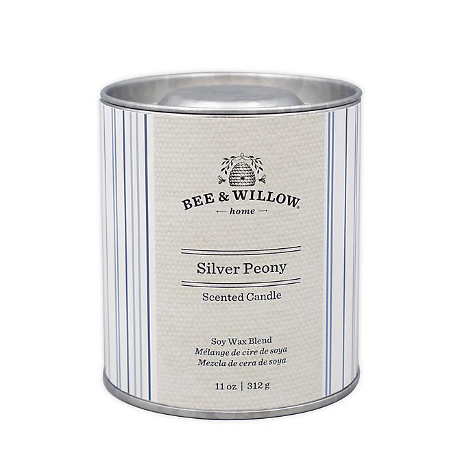 Alternate image 1 for Bee & Willow™ Home Silver Peony 11 oz. Tin Candle with Ticking Stripe Design