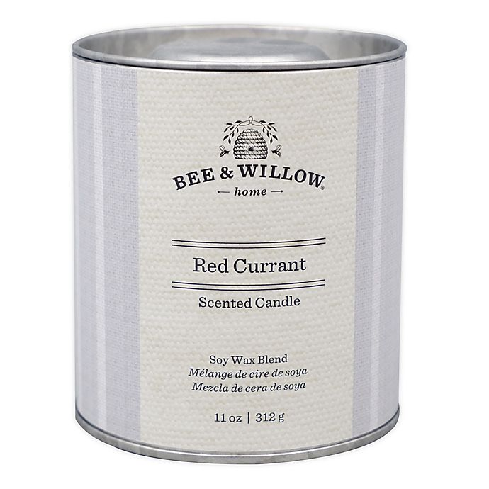 Alternate image 1 for Bee & Willow™ Home Red Currant 11 oz. Tin Candle with Grey Linen Design