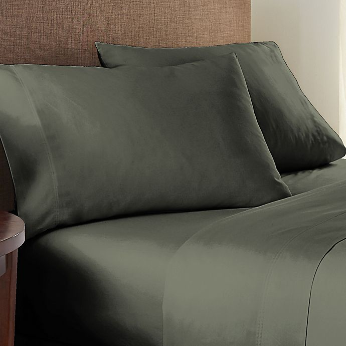 Alternate image 1 for Nestwell™ Pure Earth Organic Cotton 300-Thread-Count Full Sheet Set in Dark Forest