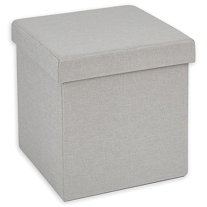Alternate image 1 for Simply Essential™ 15-Inch Folding Storage Ottoman in Light Grey