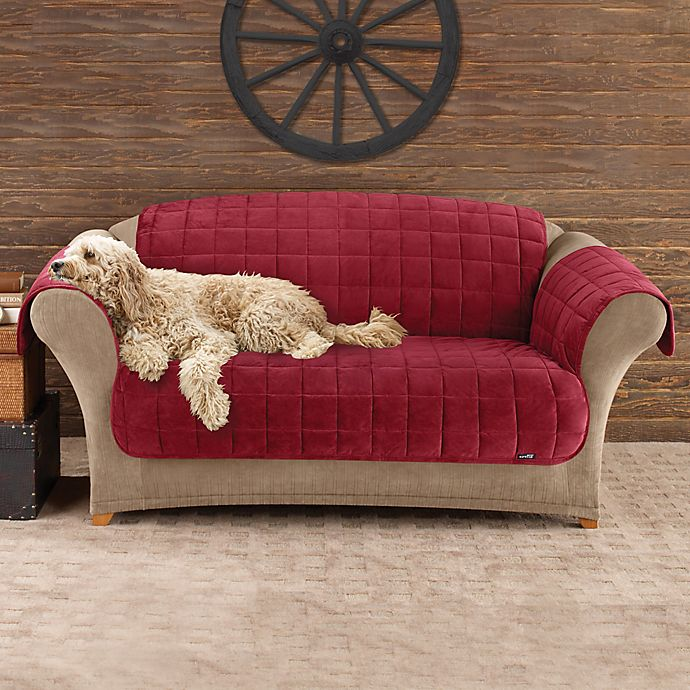 Alternate image 1 for Sure Fit® Deluxe Pet Burgundy Furniture Throw Covers