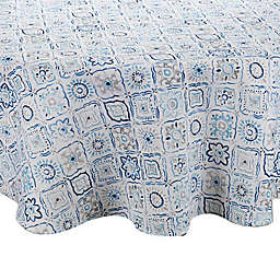 Kristian 70-Inch Round Indoor/Outdoor Tablecloth with Umbrella Hole in Blue