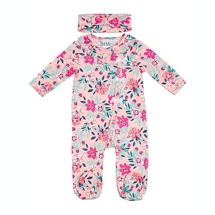 Alternate image 1 for Nicole Miller 2-Piece Floral Footie and Headband Set in Pink/Aqua