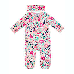 Nicole Miller Size 0-3M 2-Piece Floral Footie and Headband Set in Pink/Aqua