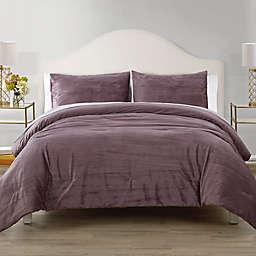 Elegant Estates Sadie Crinkle Velvet 3-Piece King Comforter Set in Rose
